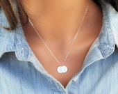 SILVER Disc Necklace, Silver initial Disc Necklace, Sterling Silver Initial Disc, ID Necklace, Boyfriend Necklace, Monogram Necklace