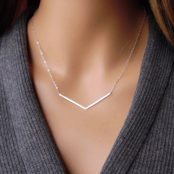 Sterling Silver Chevron Necklace Silver V Necklace Chevron V  d29af0d4ab