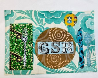 Colorful vibrant placemats w INITIALS Montessori influenced Let's dine and enjoy our time around the table