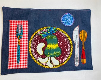 Colorful vibrant placemats Montessori influenced Let's dine and enjoy our time around the table