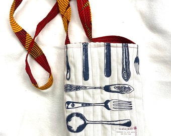 knives and forks quilted  small tote bag handmade South African textile vintage cutlery chef bag