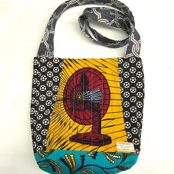 Mabhiba Stadium quilted cross body crossbody tote bag handmade Tanzania Shweshwe textile