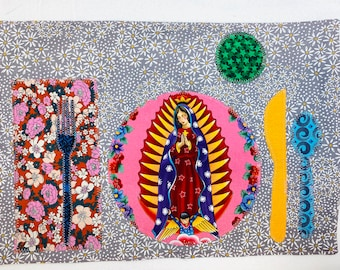 Colorful vibrant placemats Montessori influenced Lady of Guadalupe placemats Let's dine and enjoy our time around the table