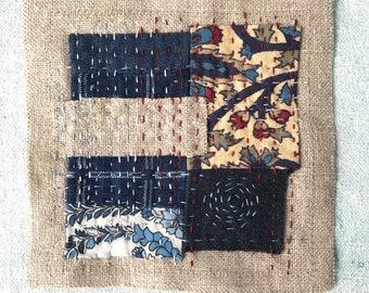 Boro Slow Stitched Patch Japanese Inspired Indigo Blue Fabrics