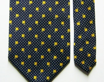 b0f1a9adc063 Vintage Nina Ricci Iridescent Navy Blue Silk Necktie Silver Micro Polka Dot  & Yellow Flower Pattern
