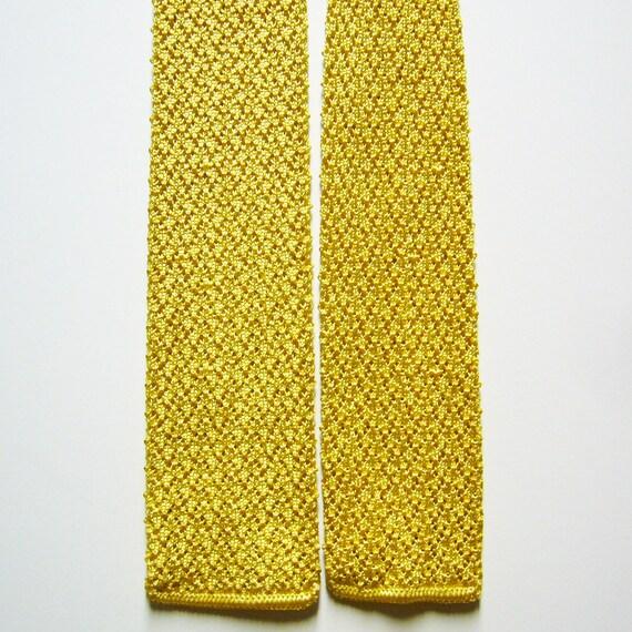 Vintage Sonniges Gelb Stricken Krawatte Häkeln Krawatte Etsy