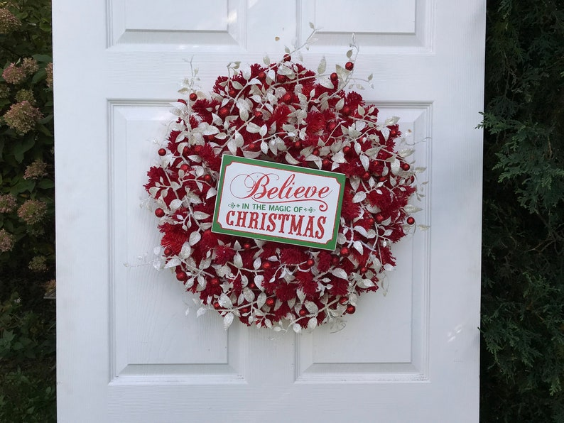 Ordinaire Red Christmas Wreath, Believe In Christmas Wreath, Red And White Wreath,  Christmas Decoration, Front Door Wreath, Seasonal Wreath