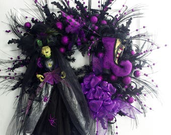 Witch Wreath, Halloween Wreath, Purple and Black Wreath, Halloween Decor, Witch Halloween, Witch Decor, Front Door Wreath