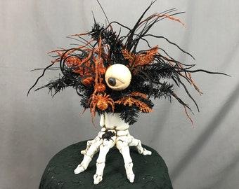 Spooky Halloween Decor Eyeball Decoration Skeleton Hand Macabre Decor Orange and Black Creepy Decor Halloween Centerpiece Scary Decor