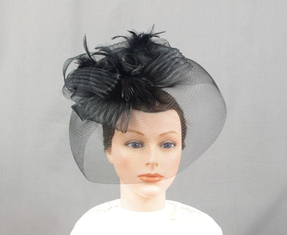 793ddf6fb41 Black Fascinator Hat Black Hat Kentucky Derby Hat Elegant