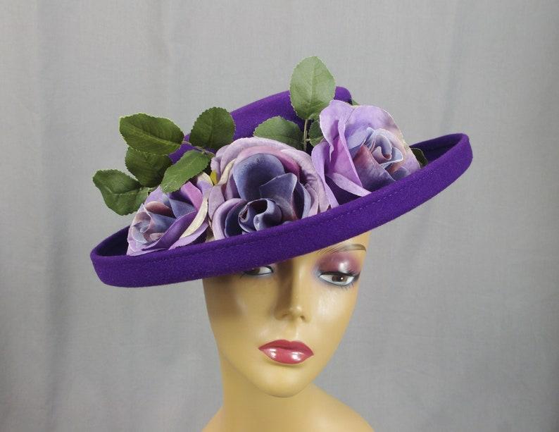 bd6bac5f3 Deep Purple Wool Hat, Vintage 60s Wool Hat, Kentucky Derby Hat, Formal Hat,  Dress Hat, Church Hat, Purple Hat, Ascot Hat, 1960s Hat