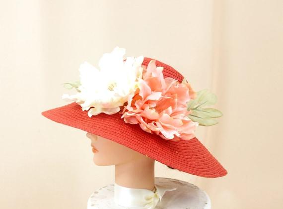 891e0da04eb Burnt Orange Hat Floral Hat Orange Derby Hat Floppy Hat