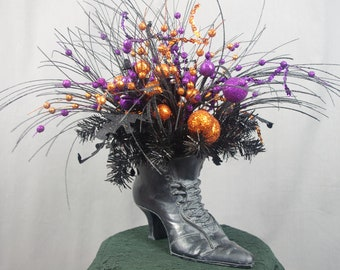 Large Black Witch Boot Centerpiece Halloween Decoration Black and Orange OOAK Halloween Table