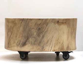 Coffee Table Stump Trunk on Casters