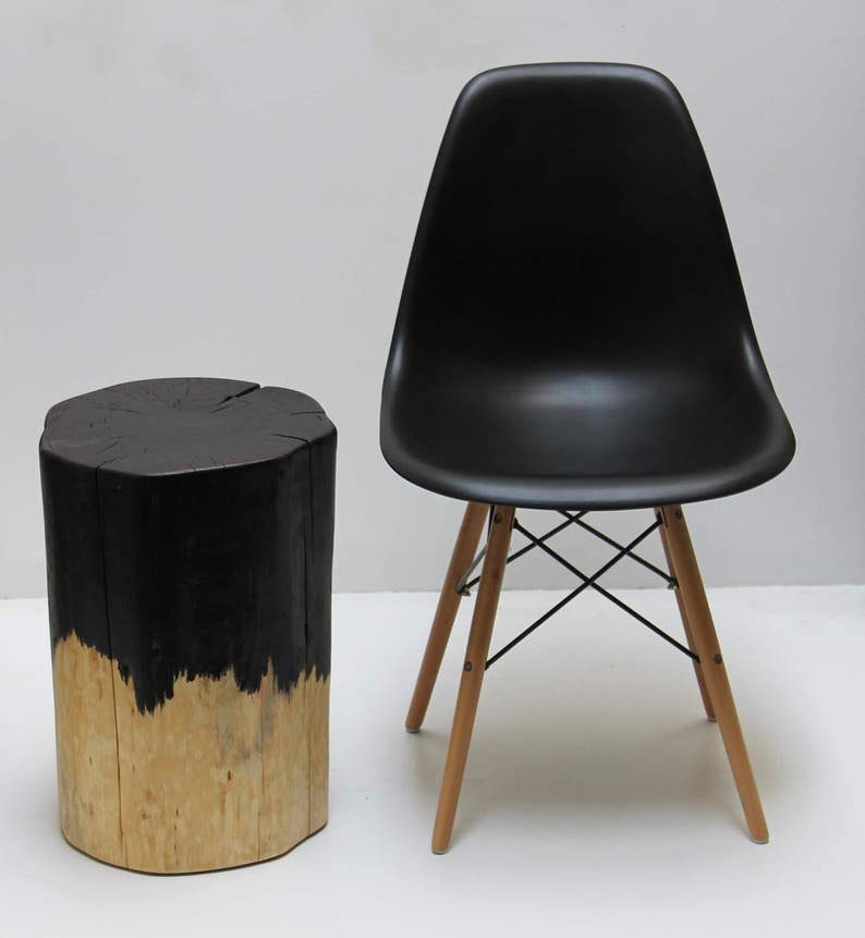 Black Drip Tree Stump Side Table Stool image 0