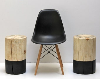 Black Paint Dipped Tree Stump Coffee Side Table Stool Seat