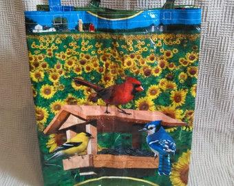 Birdseed feed sack tote bag