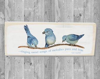 Three Little Birds, Porch wall decor, Wooden block, Spring wood sign, Welcome sign