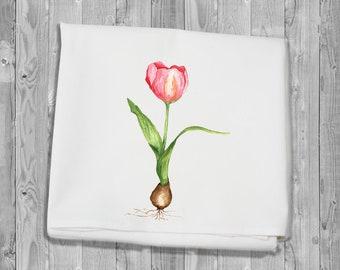 Flour Sack Kitchen Towel - pink tulip