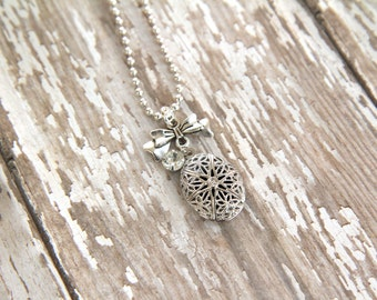 Silver Diffuser Necklace, locket, pendant, diffusing jewelry, essential oils, aromatherapy, natural healing