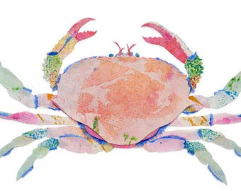Crab, Painted Paper Collage Art Print
