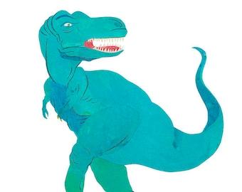 T-Rex Dinosaur, Painted Paper Collage Art Print