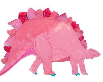 Stegosaurus Dinosaur, Painted Paper Collage Art Print