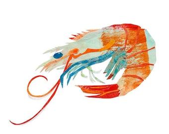Shrimp, Painted Paper Collage Art Print