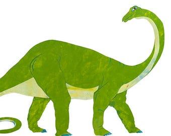 Diplodocus Dinosaur, Painted Paper Collage Art Print