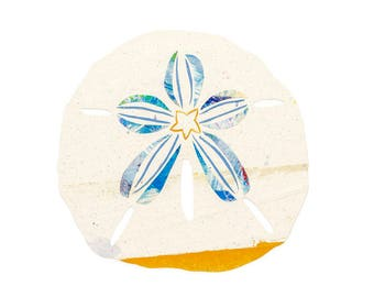 Sand Dollar, Painted Paper Collage Art Print