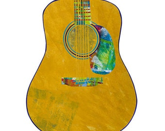 Dreadnought Guitar, Painted Paper Collage Art Print