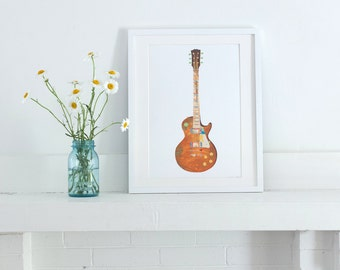 Les Paul Guitar, Painted Paper Collage Art Print