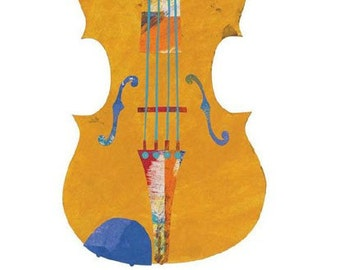 Fiddle, Painted Paper Collage Art Print (violin)