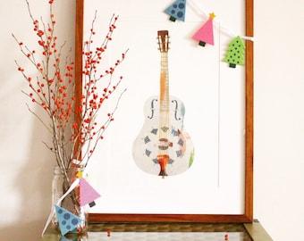 Resonator Guitar, Painted Paper Collage Art Print