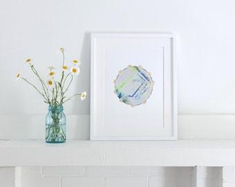 Tambourine, Painted Paper Collage Art Print