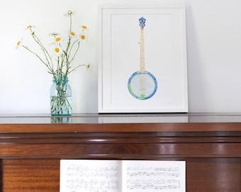 Bluegrass Banjo, Painted Paper Collage Art Print
