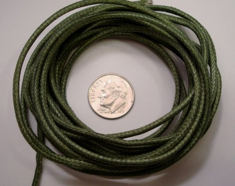 12 feet 3mm Diameter  Dark Green Woven Cotton Beading Cord, Lace, Beading Thong M005
