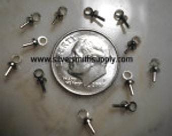 Up eye bail jewelry findings glue on 7x3mm White Gold Pltd 12 pc lot FPS055