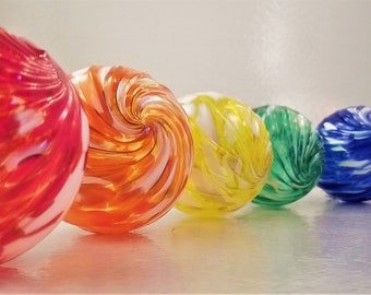 """6 Pack ~ Colorful """"Optic-Twist"""" Holiday/Christmas Ornaments Hanging Globes"""