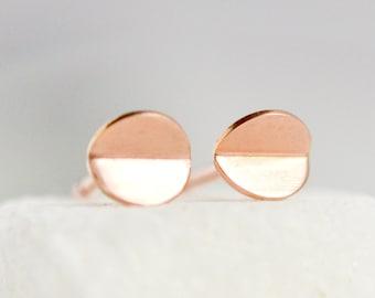 14k Rose Gold Circle Stud Earrings - Tiny Rose Gold Bent Circle Earrings - 14 k Pink Gold Studs - Lightweight Everyday Jewelry HookAndMatter