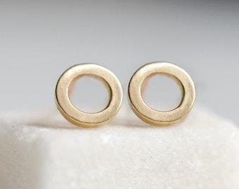 14k Gold Open Circle Stud Earrings - Minimalist Faux Hoop Studs - Geometric Jewelry - Simple 14 K Circle Gold Studs - HookAndMatter Brooklyn