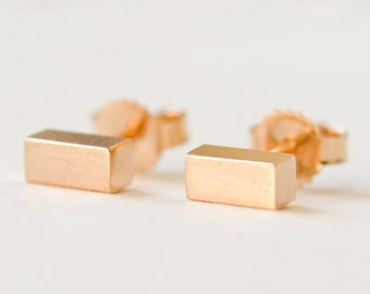 14K Gold Bar Stud Earrings - Solid 14 Kt Gold Chunky Bar Earrings - Nickel Free Second Hole Bars 14 Karat by Hook And Matter Brooklyn NY