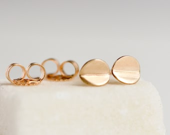 14k Gold Circle Stud Earrings - Tiny Bent Circle Earrings - 14 k Second Hole Studs - Lightweight Everyday Jewelry by Hook & Matter Brooklyn