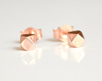 Ethical /& Eco Friendly Jewelry Sterling Silver Stud Earrings Chunky Faceted Earings Handmade by Hook and Matter Nickel Free Studs