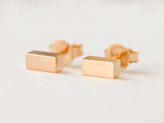 d54b7c2a0 14K Gold Bar Stud Earrings Solid 14 Kt Gold Chunky Bar   Etsy