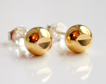 Gold Stud Earrings - Diamond Cut Studs - Everyday Cut Out Sphere Earrings - by Hook and Matter