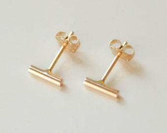 14K Gold Bar Stud Earrings - Solid 14 Kt Small Bar Earrings - Cartilage or Second Hole Nickel Free Ear Bars by Hook And Matter Brooklyn NY