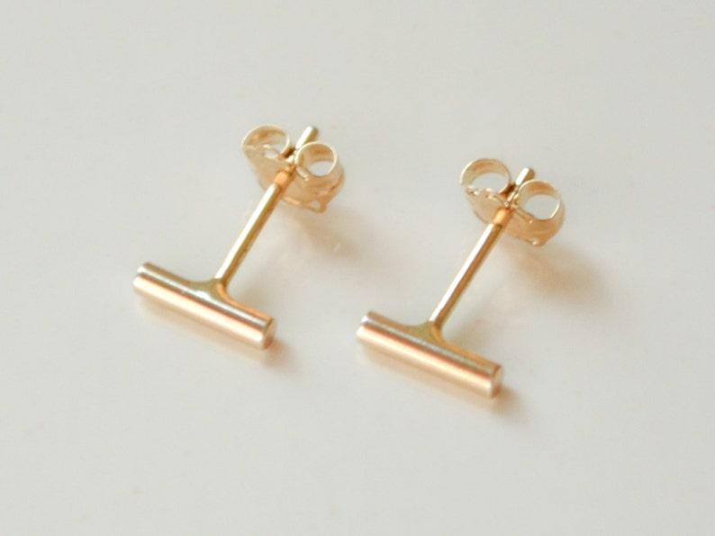 fbbcde36f 14K Gold Bar Stud Earrings Solid 14 Kt Small Bar Earrings   Etsy