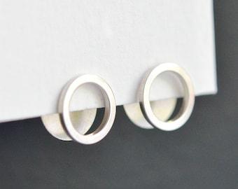 Sterling Silver Ear Jacket Earrings - Open Circle Ear Jacket Sterling Silver - Minimalist Disc Earrings - Nickel Free - Hook And Matter NYC