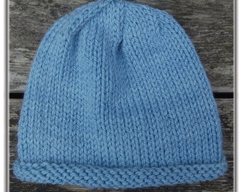 Organic Baby Hat in Sky Blue. Extra soft merino wool, hand dyed with all natural dyes.